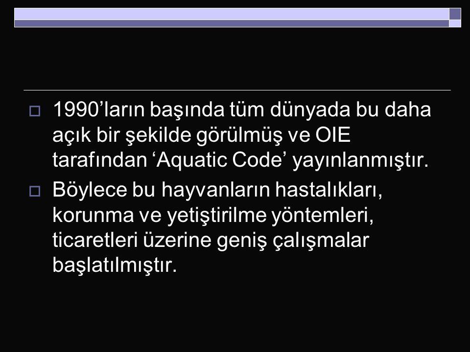  1990'ların başında tüm dünyada bu daha açık bir şekilde görülmüş ve OIE tarafından 'Aquatic Code' yayınlanmıştır.  Böylece bu hayvanların hastalıkl