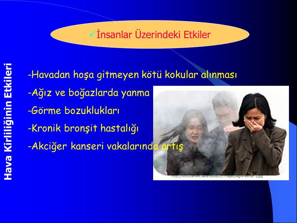 Hava Kirliliğinin Etkileri İnsanlar Üzerindeki Etkiler http://www.sahakk.sakarya.edu.tr/images/saglik-etkileri-1.jpg -Havadan hoşa gitmeyen kötü kokul