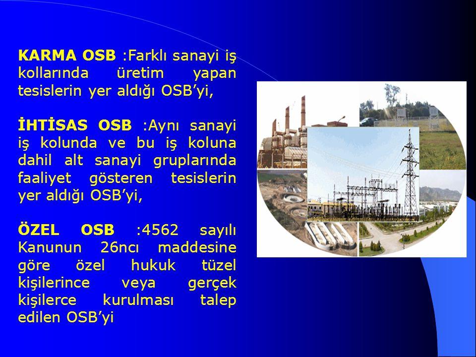 KARMA OSB :Farklı sanayi iş kollarında üretim yapan tesislerin yer aldığı OSB'yi, İHTİSAS OSB :Aynı sanayi iş kolunda ve bu iş koluna dahil alt sanayi