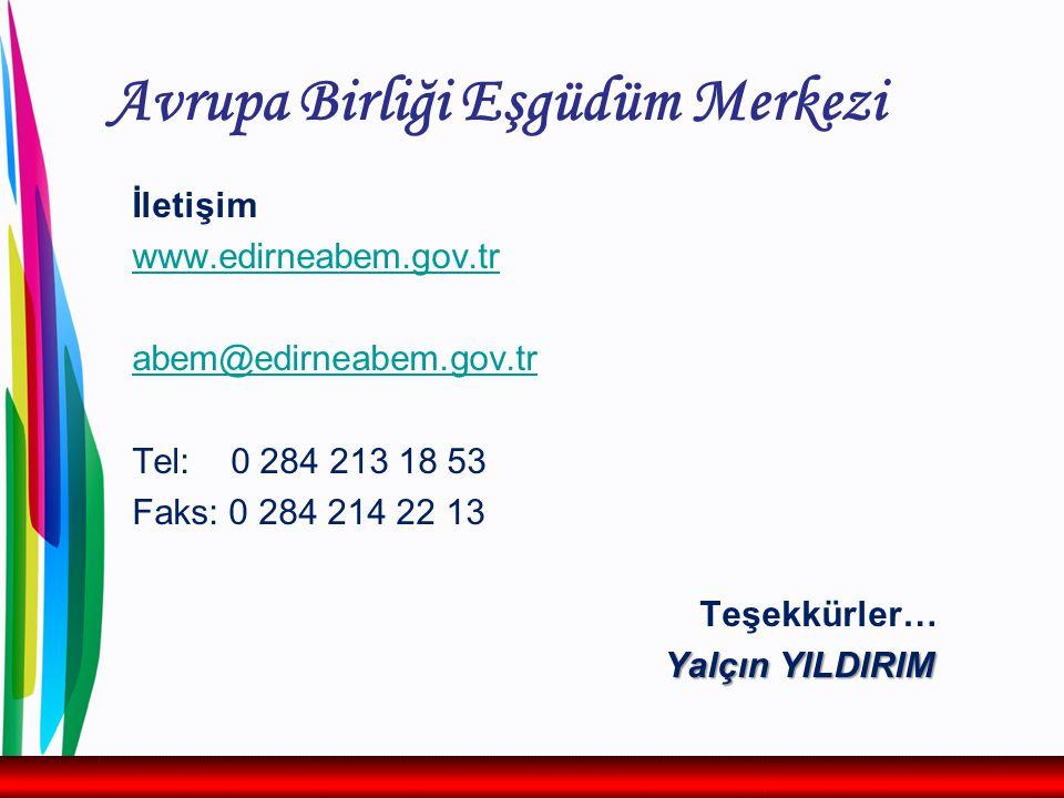 Avrupa Birliği Eşgüdüm Merkezi İletişim www.edirneabem.gov.tr abem@edirneabem.gov.tr Tel: 0 284 213 18 53 Faks: 0 284 214 22 13 Teşekkürler… Yalçın YILDIRIM
