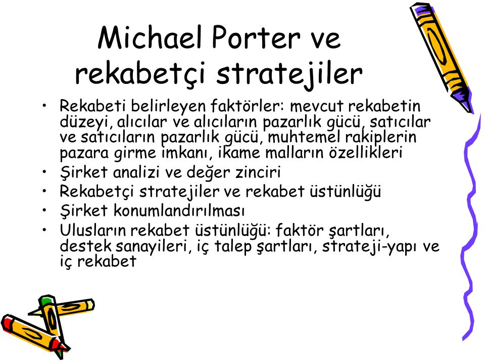 Michael Porter ve rekabetçi stratejiler Rekabeti belirleyen faktörler: mevcut rekabetin düzeyi, alıcılar ve alıcıların pazarlık gücü, satıcılar ve sat