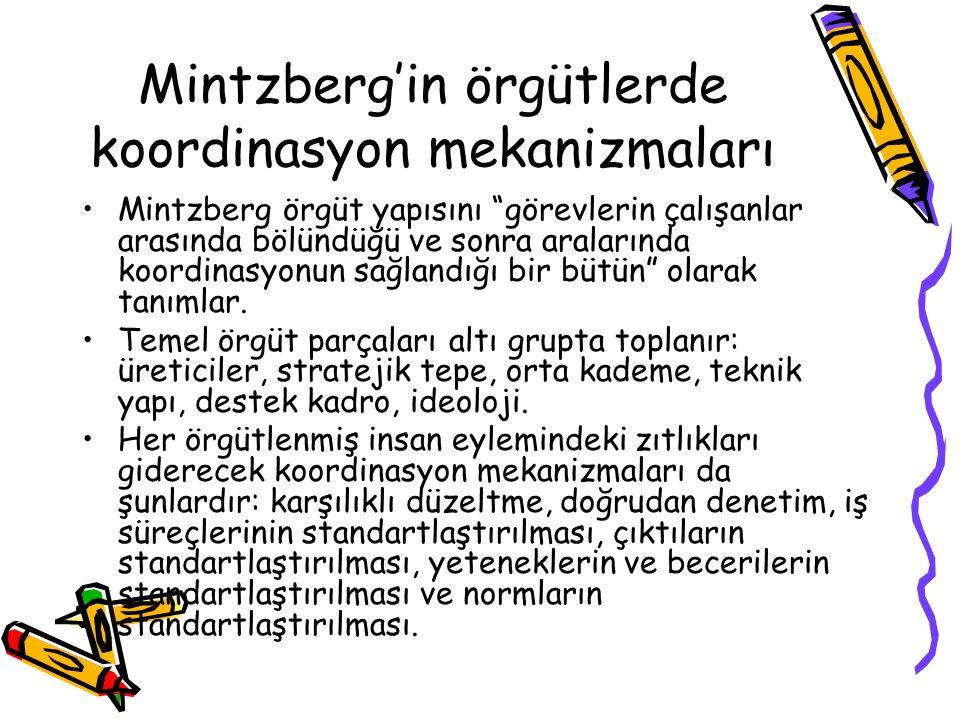 """Mintzberg'in örgütlerde koordinasyon mekanizmaları Mintzberg örgüt yapısını """"görevlerin çalışanlar arasında bölündüğü ve sonra aralarında koordinasyon"""