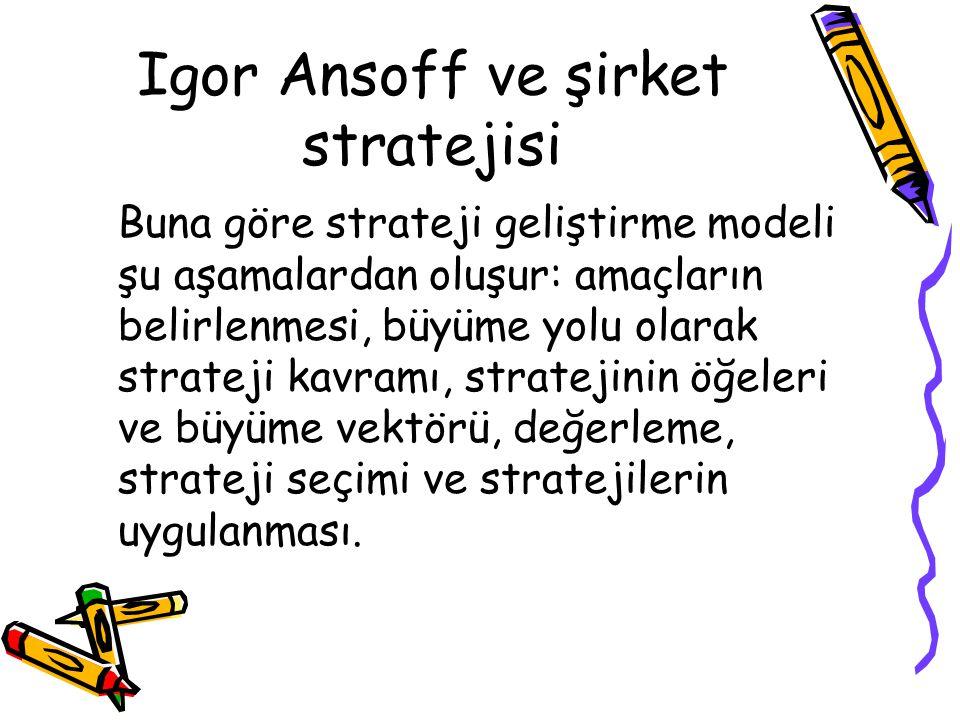 Igor Ansoff ve şirket stratejisi Buna göre strateji geliştirme modeli şu aşamalardan oluşur: amaçların belirlenmesi, büyüme yolu olarak strateji kavra
