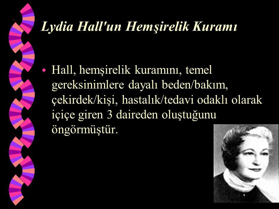 Lydia Hall'un Hemşirelik Kuramı w Hall, hemşirelik kuramını, temel gereksinimlere dayalı beden/bakım, çekirdek/kişi, hastalık/tedavi odaklı olarak içi