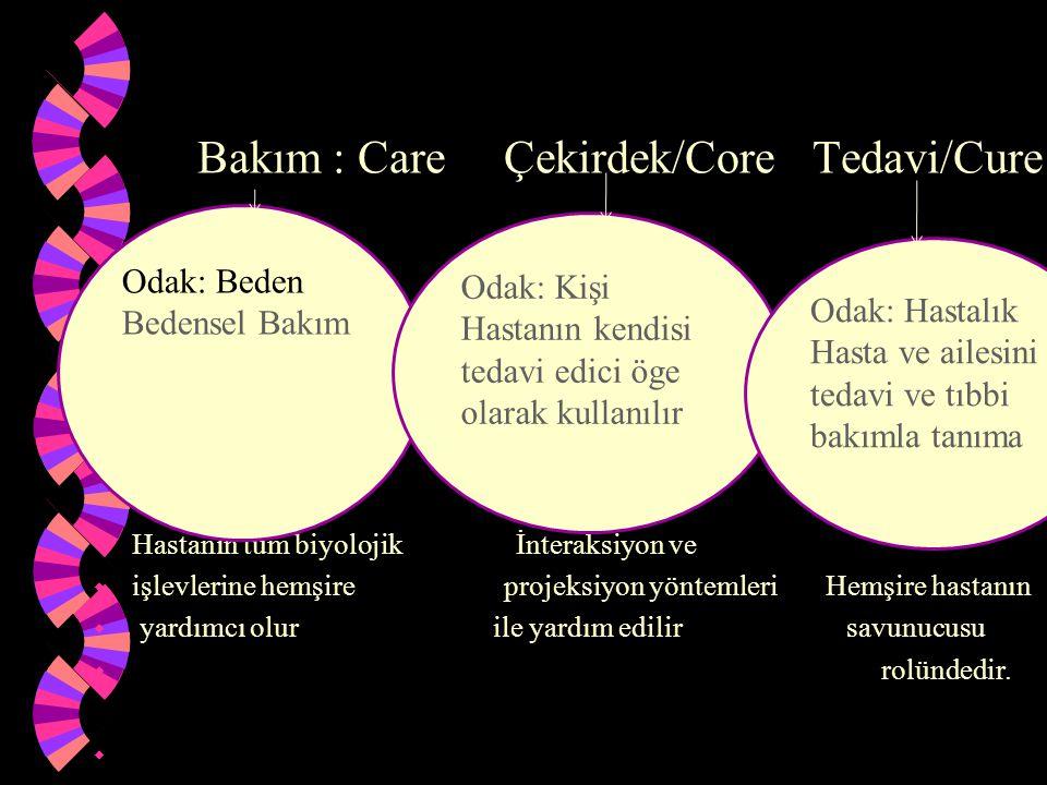Bakım : Care Çekirdek/Core Tedavi/Cure w Hastanın tüm biyolojik İnteraksiyon ve w işlevlerine hemşire projeksiyon yöntemleri Hemşire hastanın w yardım