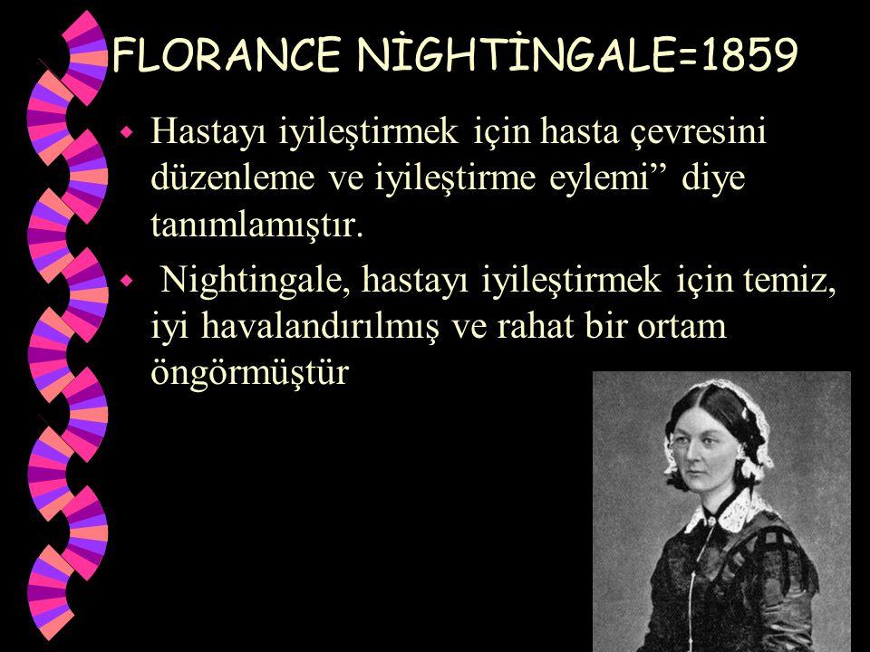 """FLORANCE NİGHTİNGALE=1859 w Hastayı iyileştirmek için hasta çevresini düzenleme ve iyileştirme eylemi"""" diye tanımlamıştır. w Nightingale, hastayı iyil"""
