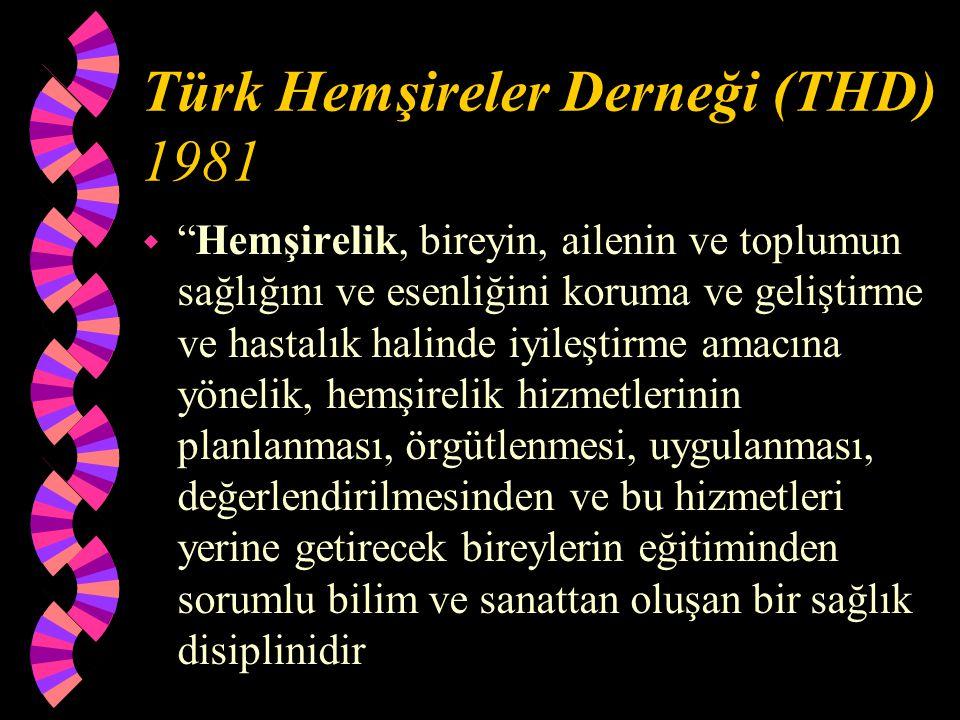 """Türk Hemşireler Derneği (THD) 1981 w """"Hemşirelik, bireyin, ailenin ve toplumun sağlığını ve esenliğini koruma ve geliştirme ve hastalık halinde iyileş"""