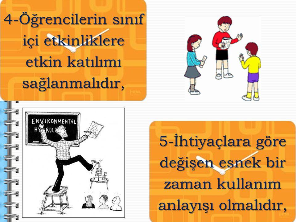 5-İhtiyaçlara göre değişen esnek bir zaman kullanım anlayışı olmalıdır, 4-Öğrencilerin sınıf içi etkinliklere etkin katılımı sağlanmalıdır,