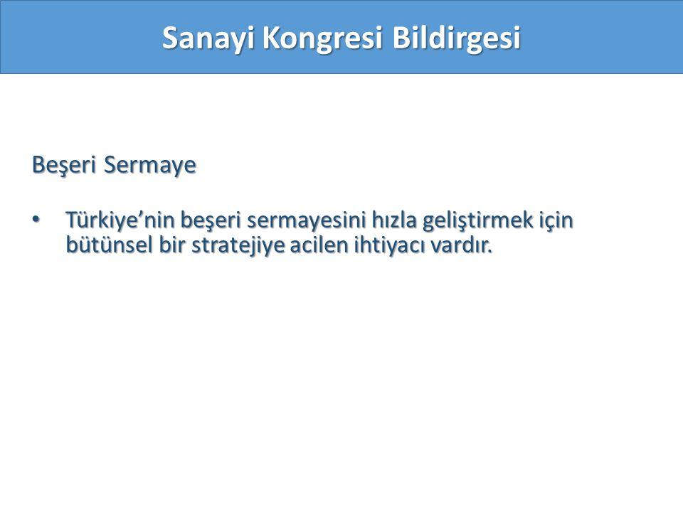 Beşeri Sermaye Türkiye'nin beşeri sermayesini hızla geliştirmek için bütünsel bir stratejiye acilen ihtiyacı vardır. Türkiye'nin beşeri sermayesini hı