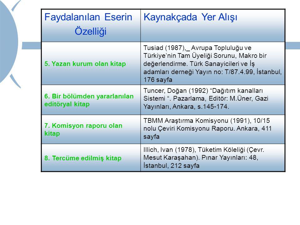 Faydalanılan Eserin Özelliği Kaynakçada Yer Alışı 5. Yazan kurum olan kitap Tusiad (1987),_ Avrupa Topluluğu ve Türkiye'nin Tam Üyeliği Sorunu, Makro