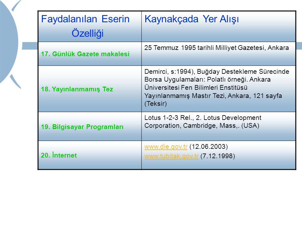 Faydalanılan Eserin Özelliği Kaynakçada Yer Alışı 17. Günlük Gazete makalesi 25 Temmuz 1995 tarihli Milliyet Gazetesi, Ankara 18. Yayınlanmamış Tez De
