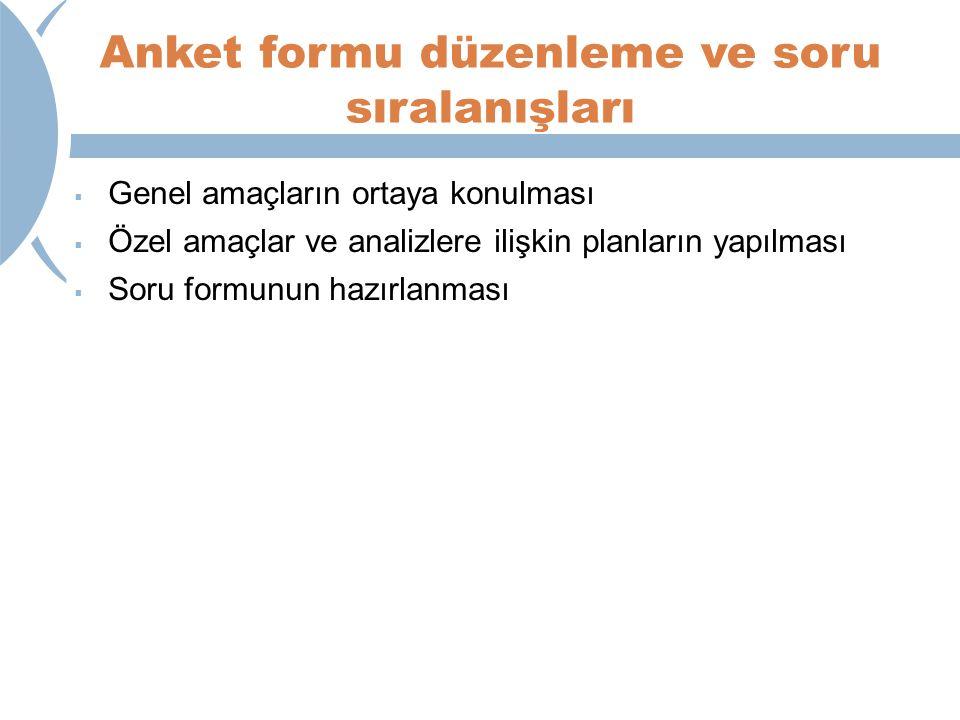 Anket formu düzenleme ve soru sıralanışları  Genel amaçların ortaya konulması  Özel amaçlar ve analizlere ilişkin planların yapılması  Soru formunu