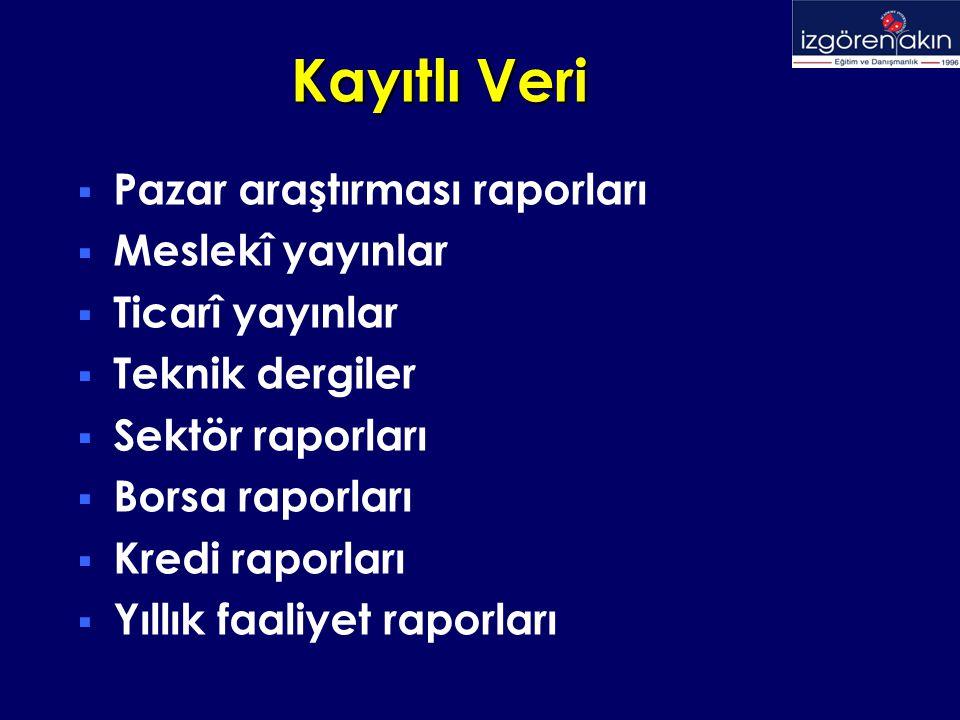 Kayıtlı Veri Kaynakları - Örnekler  Devlet Planlama Teşkilatı (DPT)  Türkiye İstatistik Kurumu (TÜİK)  Odalar ve Borsalar Birliği (TOBB)  Dış Ticaret Müsteşarlığı (DTM)  İhracatı Geliştirme Etüd Merkezi (İGEME)  Düşünce Kuruluşları  Üniversiteler  Bankalar