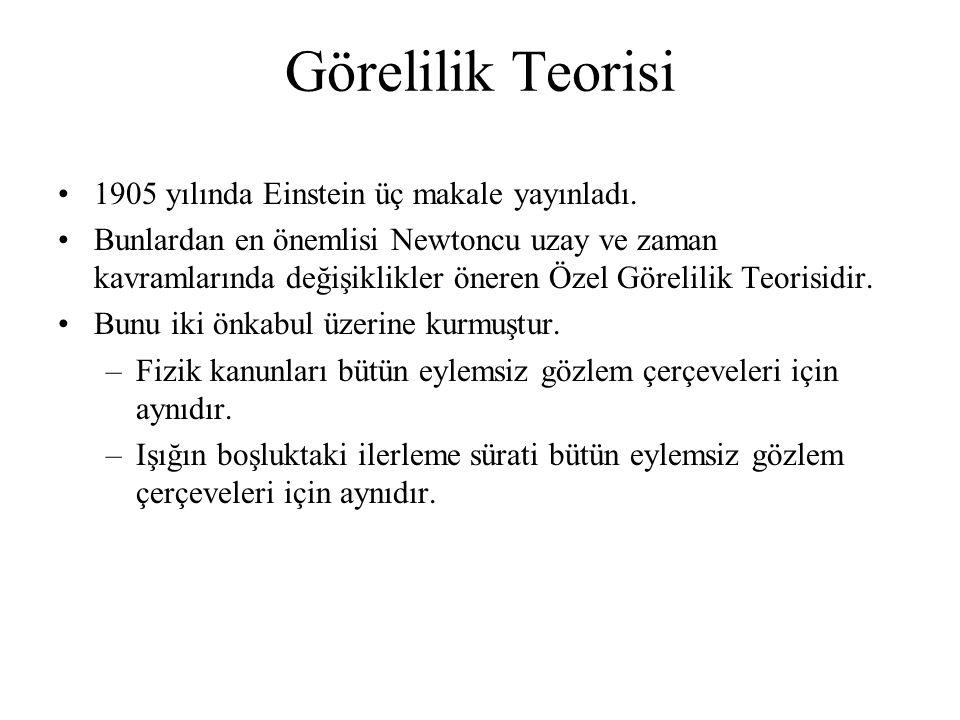 Görelilik Teorisi 1905 yılında Einstein üç makale yayınladı. Bunlardan en önemlisi Newtoncu uzay ve zaman kavramlarında değişiklikler öneren Özel Göre