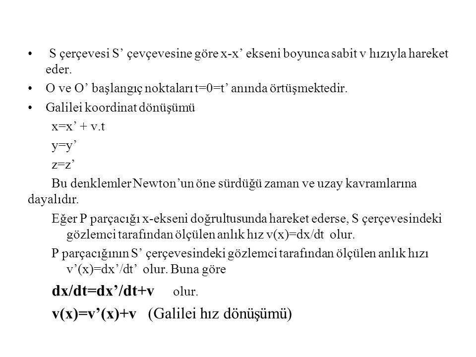 S çerçevesi S' çevçevesine göre x-x' ekseni boyunca sabit v hızıyla hareket eder.