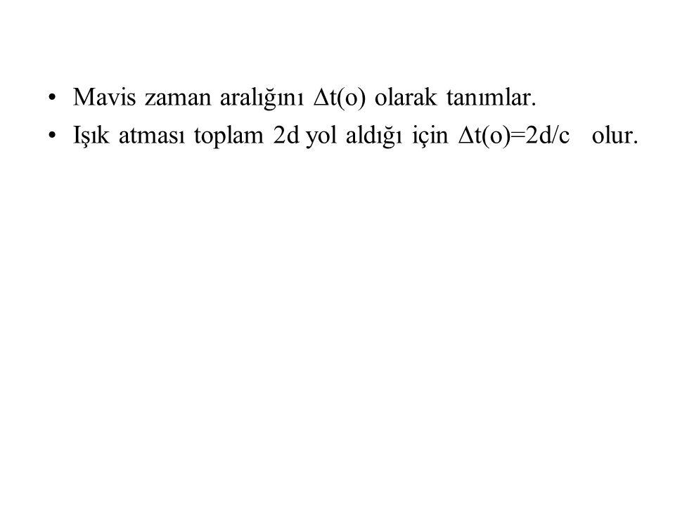 Mavis zaman aralığını ∆t(o) olarak tanımlar. Işık atması toplam 2d yol aldığı için ∆t(o)=2d/c olur.