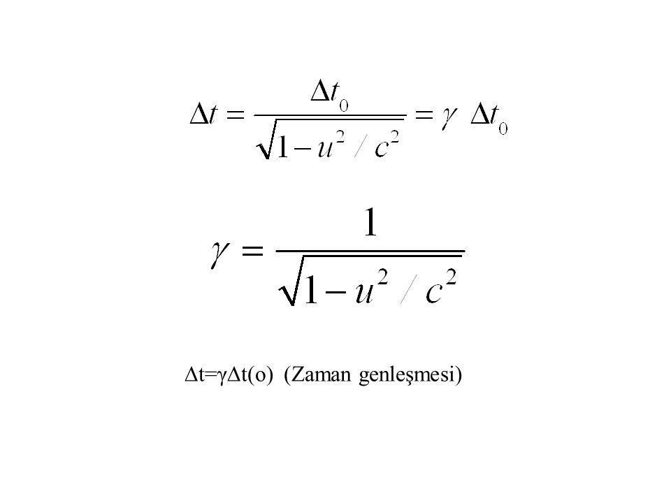 ∆t=γ∆t(o) (Zaman genleşmesi)