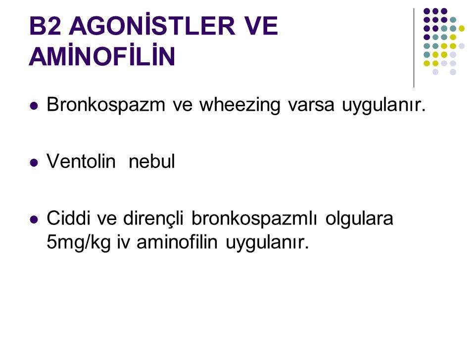 B2 AGONİSTLER VE AMİNOFİLİN Bronkospazm ve wheezing varsa uygulanır. Ventolin nebul Ciddi ve dirençli bronkospazmlı olgulara 5mg/kg iv aminofilin uygu