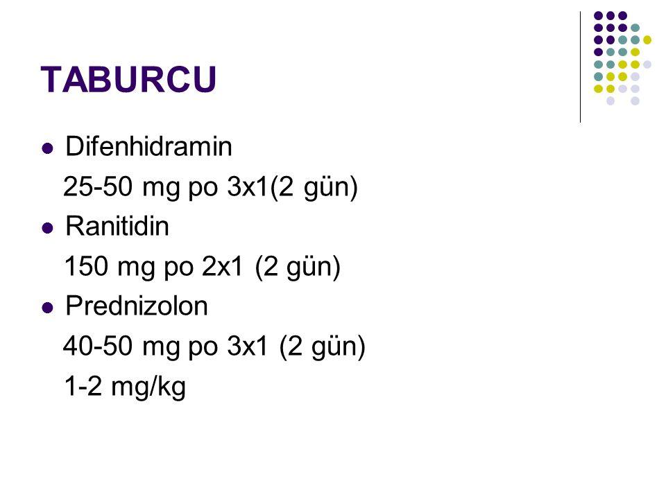 TABURCU Difenhidramin 25-50 mg po 3x1(2 gün) Ranitidin 150 mg po 2x1 (2 gün) Prednizolon 40-50 mg po 3x1 (2 gün) 1-2 mg/kg