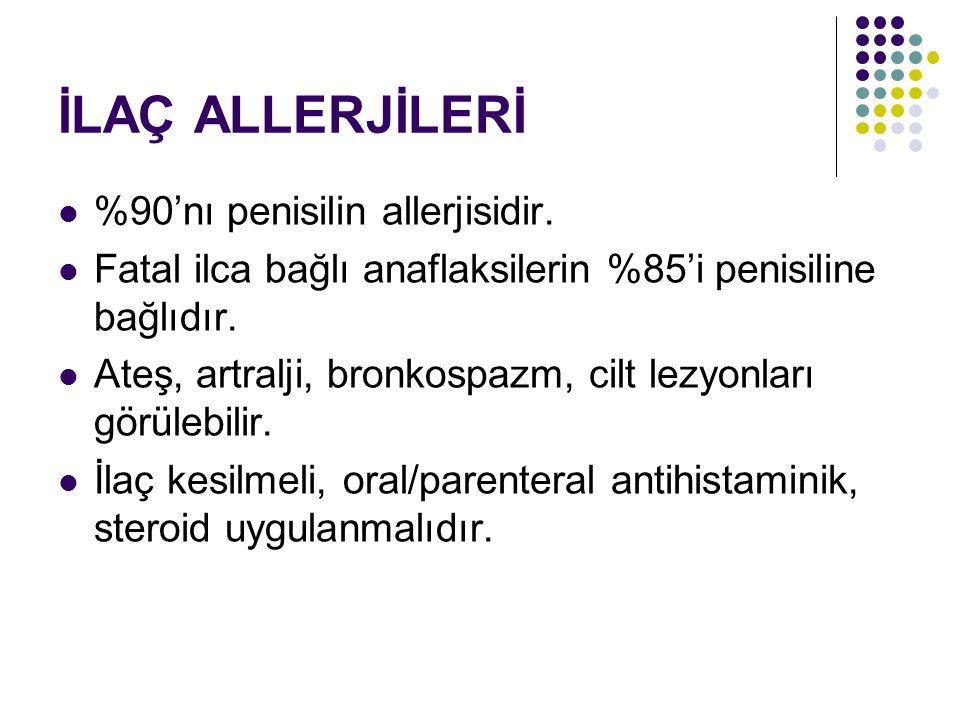 İLAÇ ALLERJİLERİ %90'nı penisilin allerjisidir. Fatal ilca bağlı anaflaksilerin %85'i penisiline bağlıdır. Ateş, artralji, bronkospazm, cilt lezyonlar