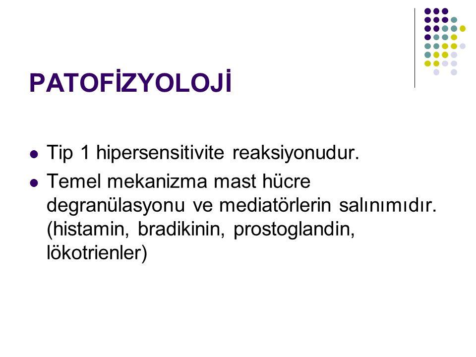 PATOFİZYOLOJİ Tip 1 hipersensitivite reaksiyonudur. Temel mekanizma mast hücre degranülasyonu ve mediatörlerin salınımıdır. (histamin, bradikinin, pro