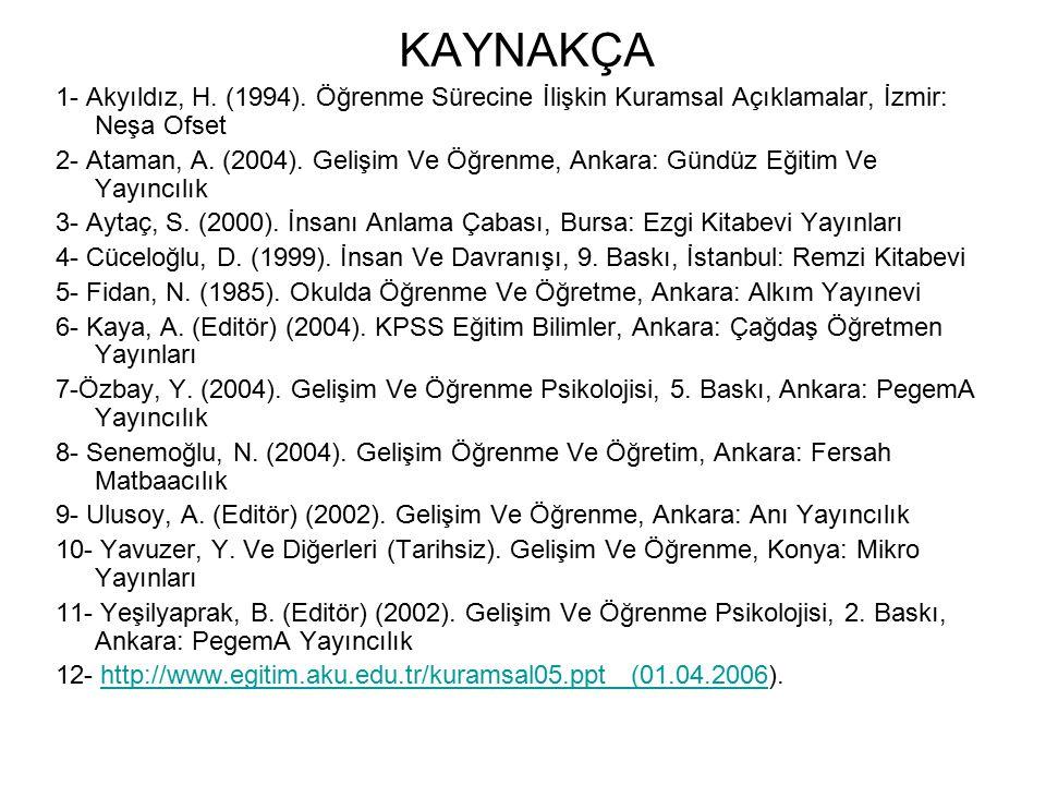 KAYNAKÇA 1- Akyıldız, H. (1994). Öğrenme Sürecine İlişkin Kuramsal Açıklamalar, İzmir: Neşa Ofset 2- Ataman, A. (2004). Gelişim Ve Öğrenme, Ankara: Gü