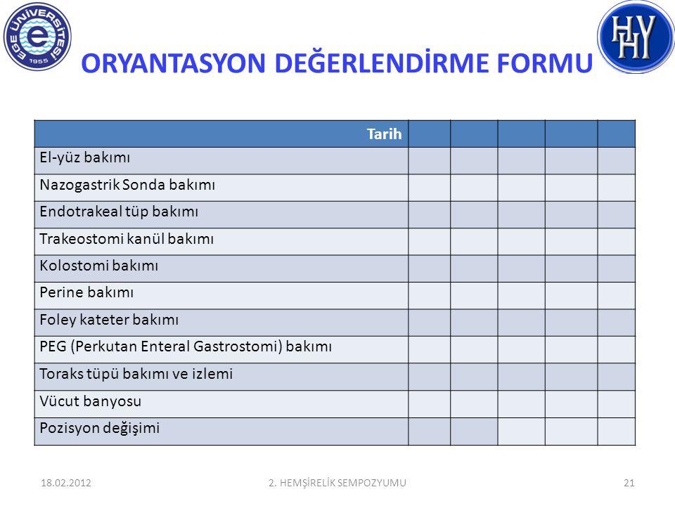 ORYANTASYON DEĞERLENDİRME FORMU 18.02.20122.