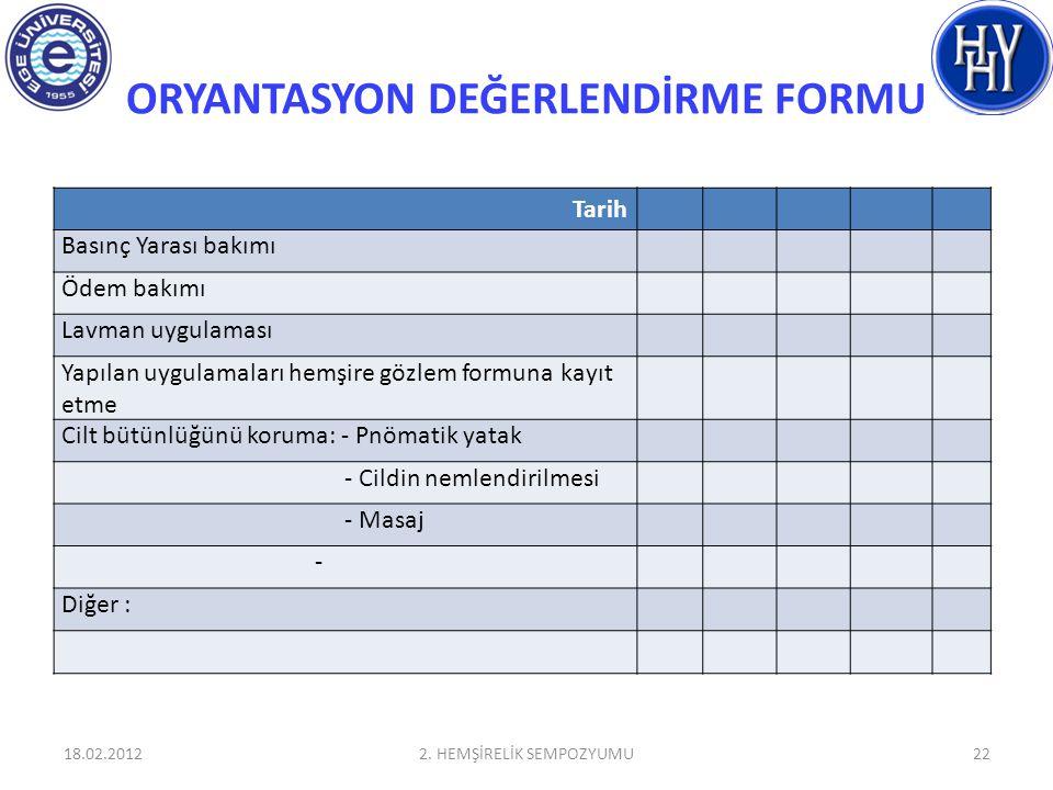 ORYANTASYON DEĞERLENDİRME FORMU 18.02.20122. HEMŞİRELİK SEMPOZYUMU22 Tarih Basınç Yarası bakımı Ödem bakımı Lavman uygulaması Yapılan uygulamaları hem