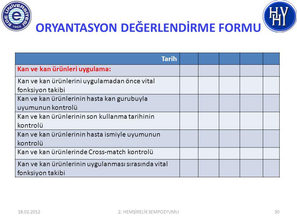 ORYANTASYON DEĞERLENDİRME FORMU 18.02.20122. HEMŞİRELİK SEMPOZYUMU30 Tarih Kan ve kan ürünleri uygulama: Kan ve kan ürünlerini uygulamadan önce vital