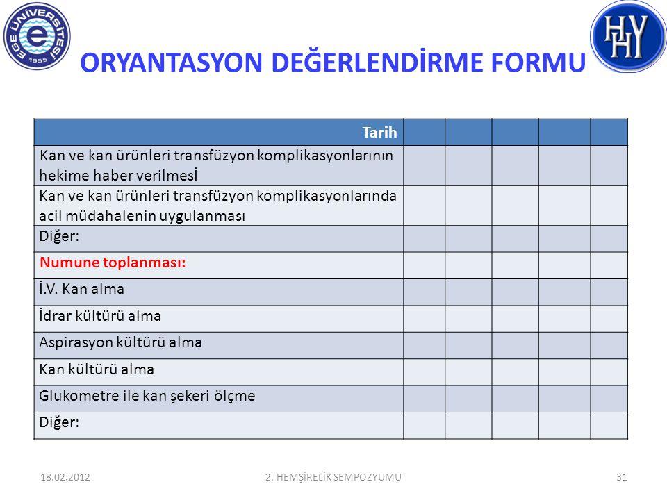 ORYANTASYON DEĞERLENDİRME FORMU 18.02.20122. HEMŞİRELİK SEMPOZYUMU31 Tarih Kan ve kan ürünleri transfüzyon komplikasyonlarının hekime haber verilmesİ