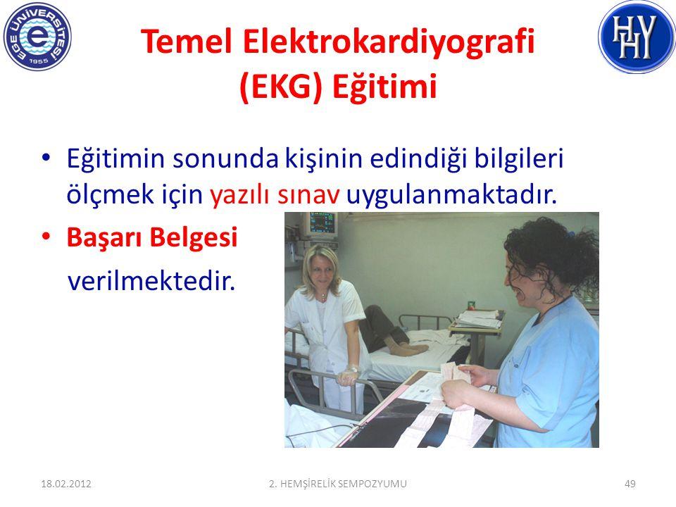 Temel Elektrokardiyografi (EKG) Eğitimi Eğitimin sonunda kişinin edindiği bilgileri ölçmek için yazılı sınav uygulanmaktadır. Başarı Belgesi verilmekt
