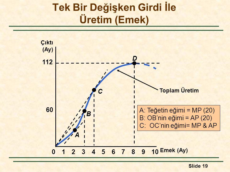 Slide 19 Toplam Üretim A: Teğetin eğimi = MP (20) B: OB'nin eğimi = AP (20) C: OC'nin eğimi= MP & AP Emek (Ay) Çıktı (Ay) 60 112 023456789101 A B C D