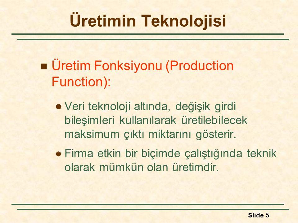 Slide 5 Üretimin Teknolojisi Üretim Fonksiyonu (Production Function): Veri teknoloji altında, değişik girdi bileşimleri kullanılarak üretilebilecek ma