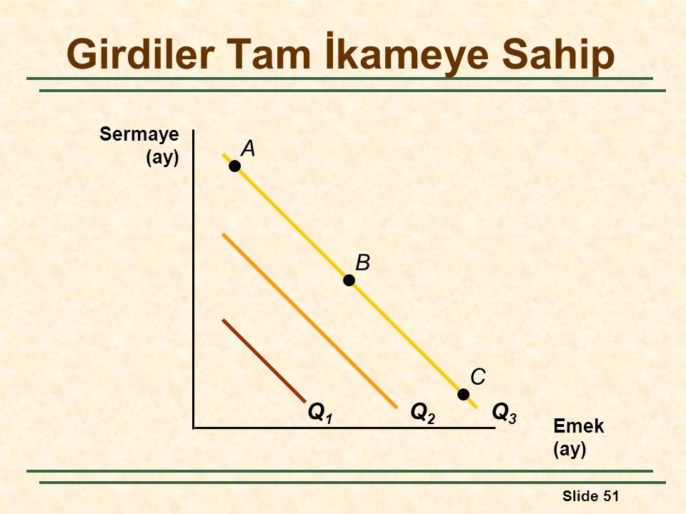Slide 51 Girdiler Tam İkameye Sahip Emek (ay) Sermaye (ay) Q1Q1 Q2Q2 Q3Q3 A B C