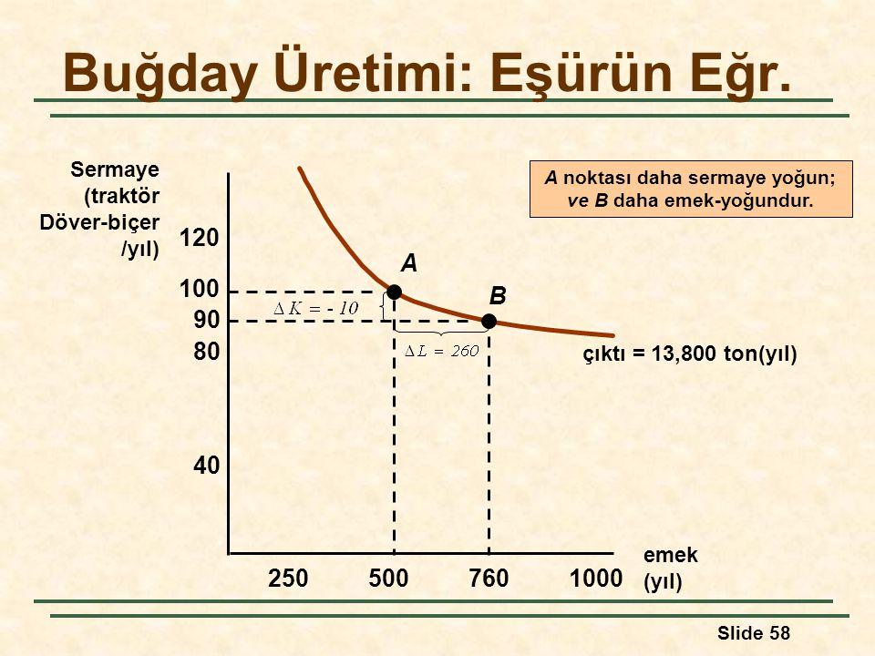 Slide 58 Buğday Üretimi: Eşürün Eğr. emek (yıl) Sermaye (traktör Döver-biçer /yıl) 2505007601000 40 80 120 100 90 çıktı = 13,800 ton(yıl) A B A noktas