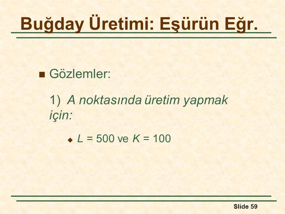 Slide 59 Gözlemler: 1)A noktasında üretim yapmak için:  L = 500 ve K = 100 Buğday Üretimi: Eşürün Eğr.