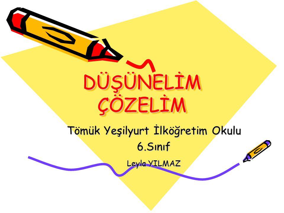 DÜŞÜNELİM ÇÖZELİM Tömük Yeşilyurt İlköğretim Okulu 6.Sınıf Leyla YILMAZ