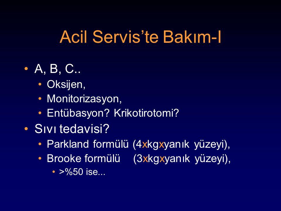 Acil Servis'te Bakım-I A, B, C.. Oksijen, Monitorizasyon, Entübasyon? Krikotirotomi? Sıvı tedavisi? Parkland formülü (4xkgxyanık yüzeyi), Brooke formü
