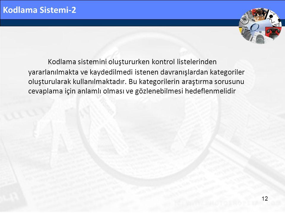 Kodlama Sistemi-2 Kodlama sistemini oluştururken kontrol listelerinden yararlanılmakta ve kaydedilmedi istenen davranışlardan kategoriler oluşturulara