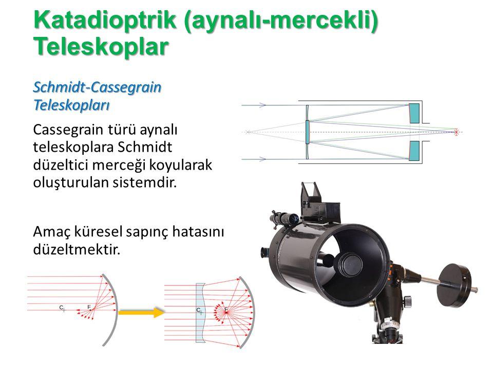 Katadioptrik (aynalı-mercekli) Teleskoplar Maksutov-Cassegrain Teleskopları Cassegrain türü aynalı teleskoplara düzeltici olarak bir yüzeyi iç bükey diğer yüzeyi ise dış bükey olan bir menisküs merceği yerleştirilir.