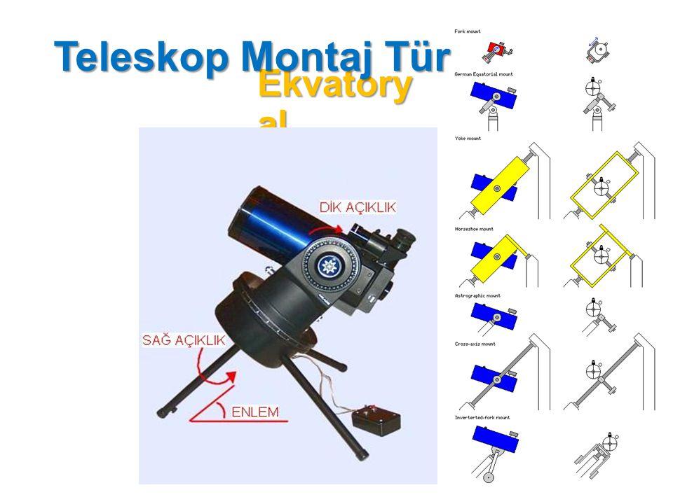 Alman Türü Montaj Bu tür montajda teleskobun ağırlığın dengeleyen bir ek ağırlık bulunur.