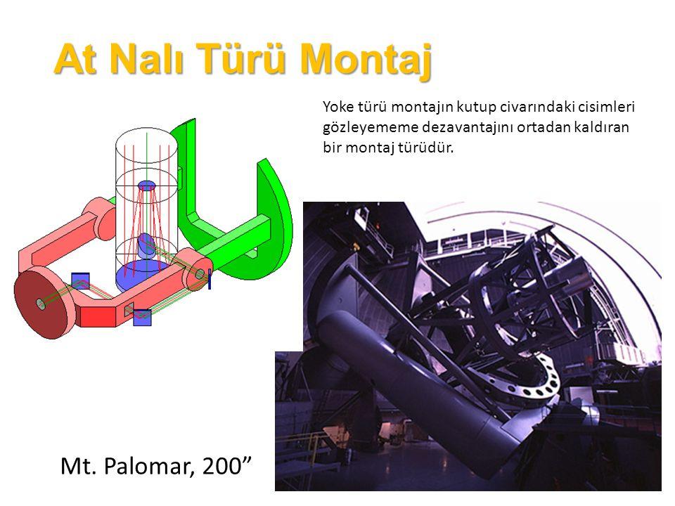 Çatal Montaj Bu tür montajda ise teleskop bir yarım çerçeve (çatal) içine yerleştirilir.
