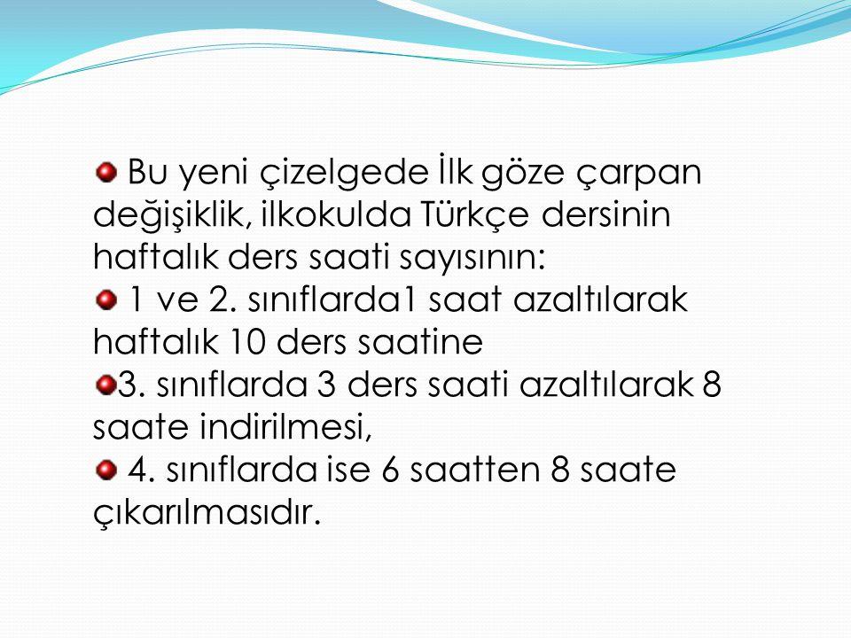 Bu yeni çizelgede İlk göze çarpan değişiklik, ilkokulda Türkçe dersinin haftalık ders saati sayısının: 1 ve 2. sınıflarda1 saat azaltılarak haftalık 1