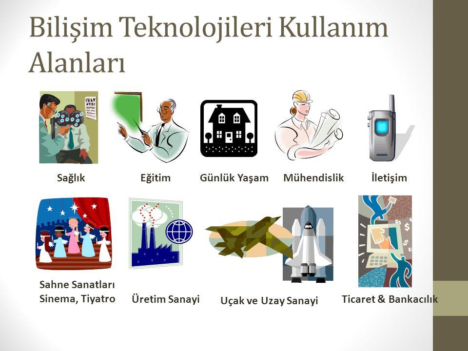 Bilişim Teknolojileri Kullanım Alanları 9 SağlıkEğitim Uçak ve Uzay Sanayi Üretim Sanayi İletişim Sahne Sanatları Sinema, Tiyatro Günlük YaşamMühendis