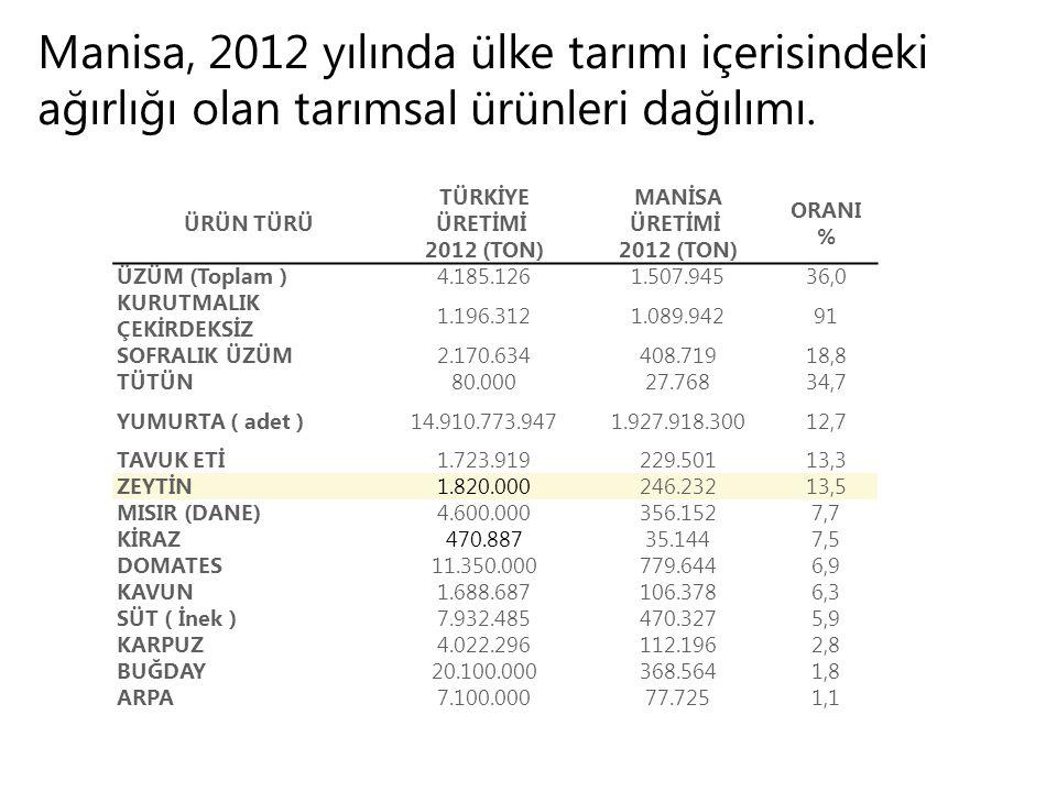 ÜRÜN TÜRÜ TÜRKİYE ÜRETİMİ 2012 (TON) MANİSA ÜRETİMİ 2012 (TON) ORANI % ÜZÜM (Toplam )4.185.1261.507.94536,0 KURUTMALIK ÇEKİRDEKSİZ 1.196.3121.089.94291 SOFRALIK ÜZÜM2.170.634408.71918,8 TÜTÜN80.00027.76834,7 YUMURTA ( adet )14.910.773.9471.927.918.30012,7 TAVUK ETİ1.723.919229.50113,3 ZEYTİN1.820.000246.23213,5 MISIR (DANE)4.600.000356.1527,7 KİRAZ470.88735.1447,5 DOMATES11.350.000779.6446,9 KAVUN1.688.687106.3786,3 SÜT ( İnek )7.932.485470.3275,9 KARPUZ4.022.296112.1962,8 BUĞDAY20.100.000368.5641,8 ARPA7.100.00077.7251,1 Manisa, 2012 yılında ülke tarımı içerisindeki ağırlığı olan tarımsal ürünleri dağılımı.