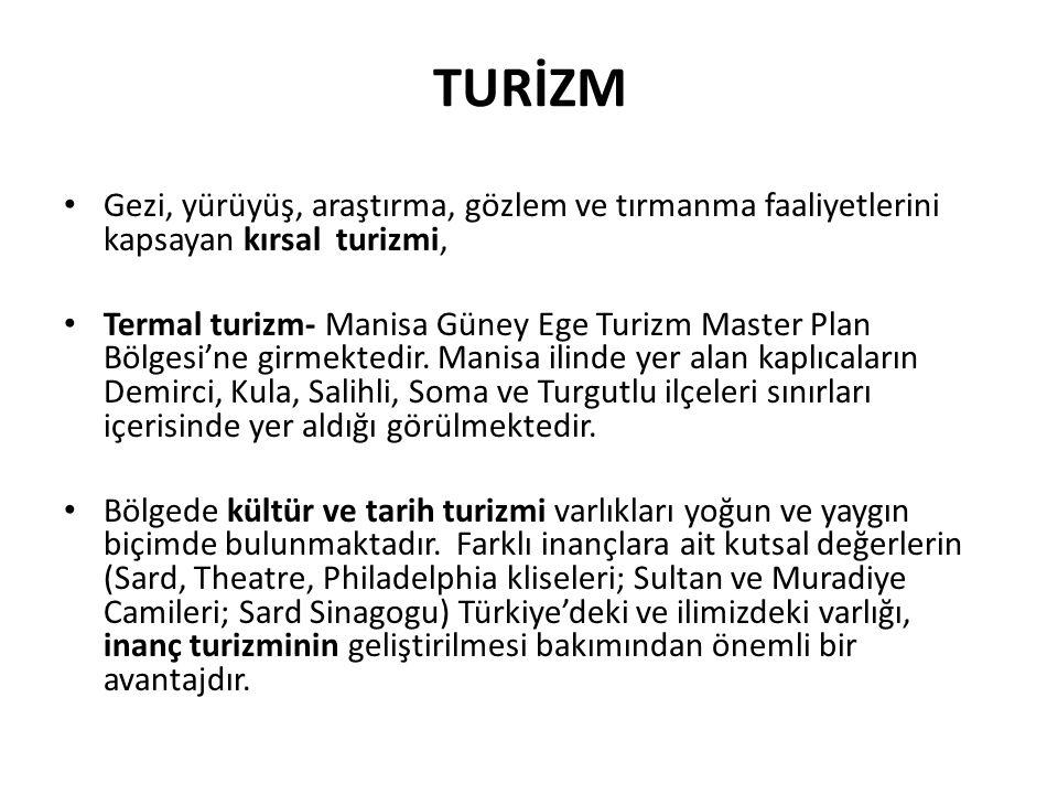 TURİZM Gezi, yürüyüş, araştırma, gözlem ve tırmanma faaliyetlerini kapsayan kırsal turizmi, Termal turizm- Manisa Güney Ege Turizm Master Plan Bölgesi'ne girmektedir.