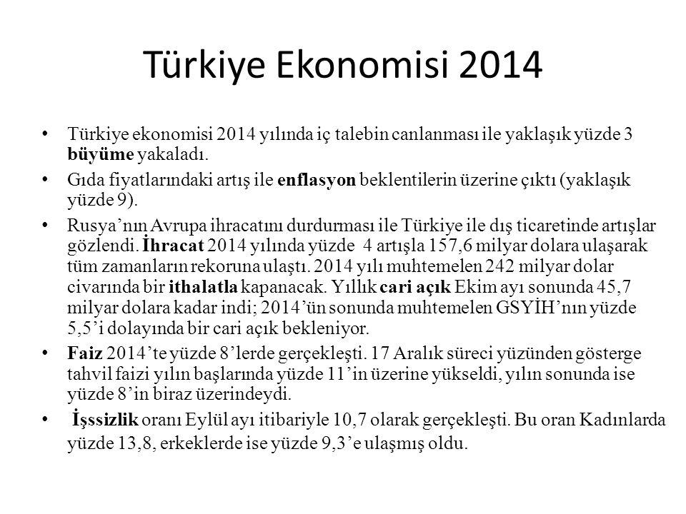 Türkiye Ekonomisi 2014 Türkiye ekonomisi 2014 yılında iç talebin canlanması ile yaklaşık yüzde 3 büyüme yakaladı. Gıda fiyatlarındaki artış ile enflas