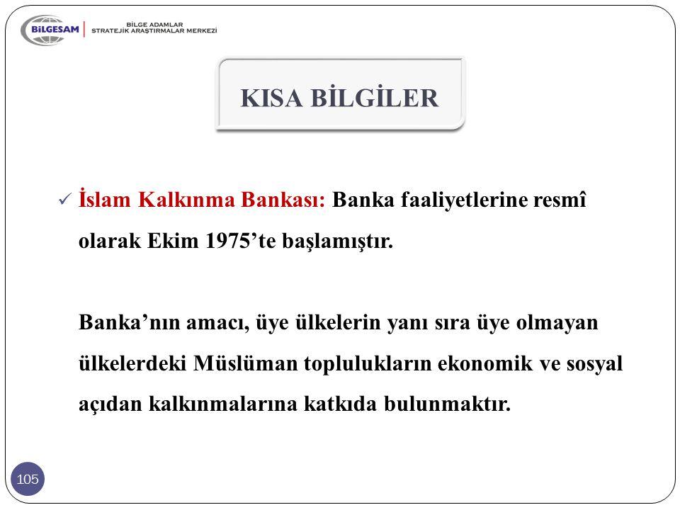 105 KISA BİLGİLER İslam Kalkınma Bankası: Banka faaliyetlerine resmî olarak Ekim 1975'te başlamıştır. Banka'nın amacı, üye ülkelerin yanı sıra üye olm