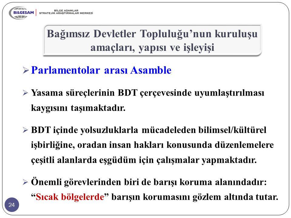 24  Parlamentolar arası Asamble  Yasama süreçlerinin BDT çerçevesinde uyumlaştırılması kaygısını taşımaktadır.  BDT içinde yolsuzluklarla mücadeled