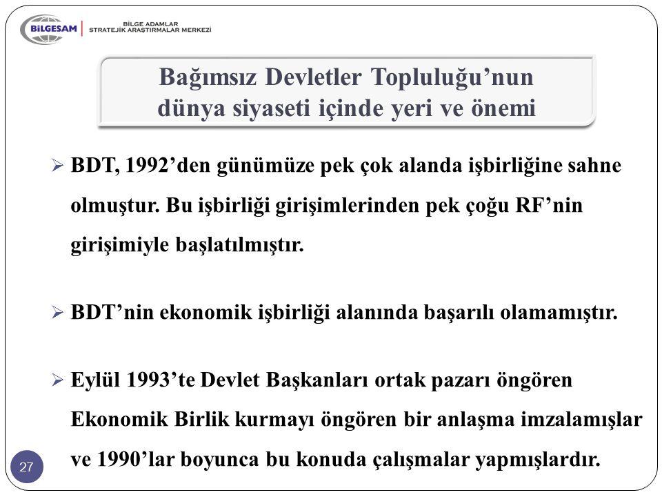 27  BDT, 1992'den günümüze pek çok alanda işbirliğine sahne olmuştur. Bu işbirliği girişimlerinden pek çoğu RF'nin girişimiyle başlatılmıştır.  BDT'